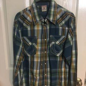 Men's True Religion cowboy style shirt large